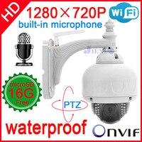2014 видеонаблюдения ip камера 720 P аудио Micro Wireless Открытый Купольная Wi Fi Водонепроницаемый Onvif NVR домашние системы безопасности cam пан