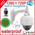2014 cctv câmera ip 720 P áudio micro sem fio ao ar livre ptz speed dome wifi onvif nvr sistema de home security cam à prova d' água pan