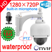 2014 cctv ip camera 720P audio micro wireless outdoor ptz speed dome wifi waterproof onvif nvr home security system cam pan