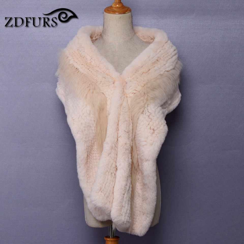 ZDFURS * 2017 Новый женский натуральный вязаный шарф из натурального меха кролика рекс зимний теплый шарф шарфы-кольца палантин Бесплатная доставка