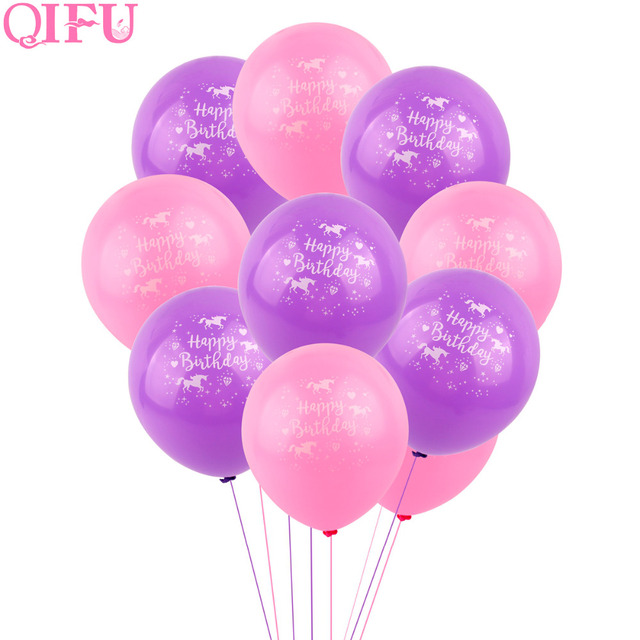 QIFU 10pcs Pink Purple Unicorn Balloons 12inch Latex Ballons Baloon Happy Birthday Party Decorations Kids Babyshower Baloes