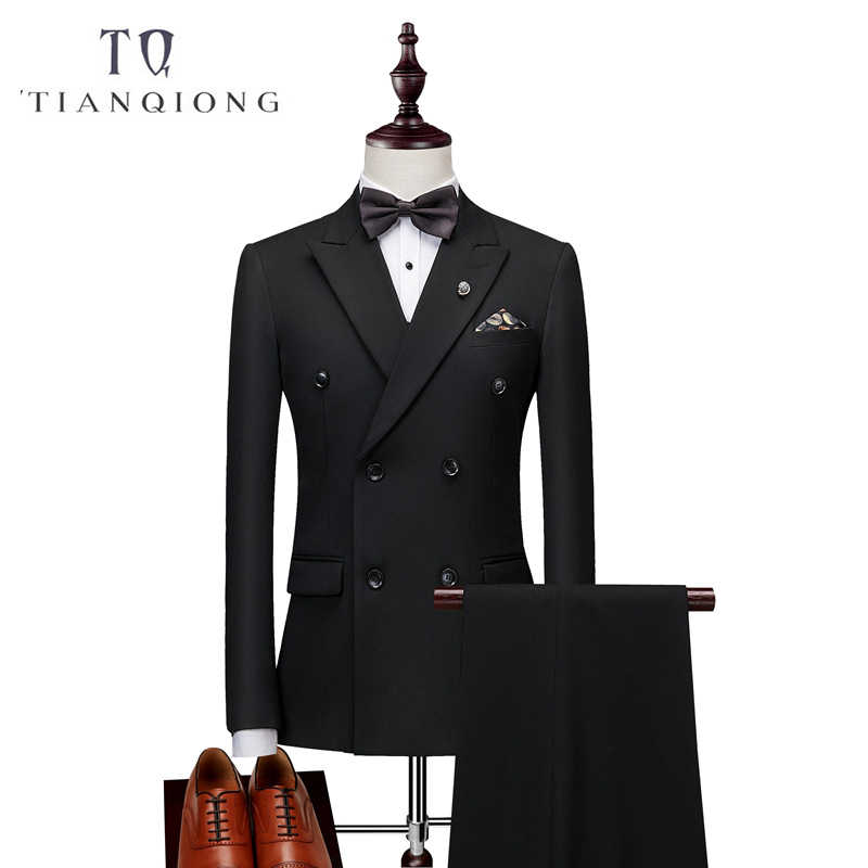 ダブルブレスト最新コートパンツのデザインスーツ男性スリムフィットの結婚式のスーツ男性の純粋な黒ライトグレータキシードジャケット + パンツ + ベスト