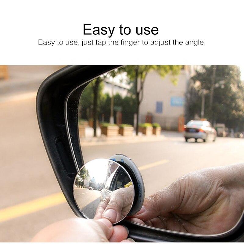 1Pc ou 2 pièces voiture 360 degrés HD Angle mort convexe miroir Auto rétroviseur grand Angle véhicule stationnement sans rebord miroirs
