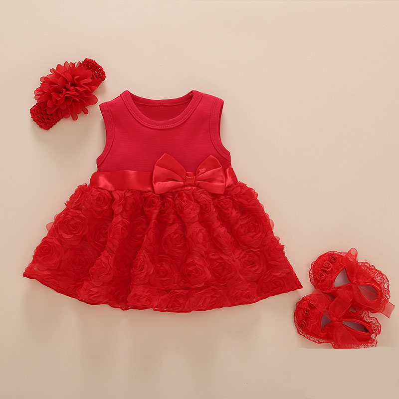 baby girl 1 year birthday dress pink party Bow knot boutique beautiful infant princess dress cute lace flower baby dresses high quality lace girl dresses children dress party summer princess baby girl wedding dress birthday big bow pink for 100 160