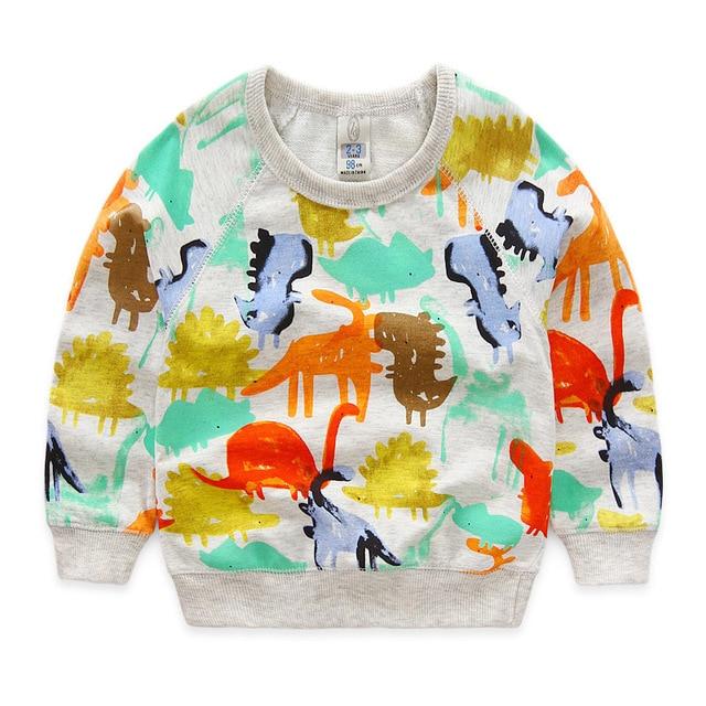2016 осенне-зимней моды мультфильм динозавр с длинным рукавом толстовки хлопок дети новорожденных девочек мальчиков детей sweatershirts свитера