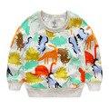 2016 moda outono e inverno dinossauro dos desenhos animados da longo-luva hoodies dos miúdos do algodão do bebê meninos meninas crianças sweatershirts blusas