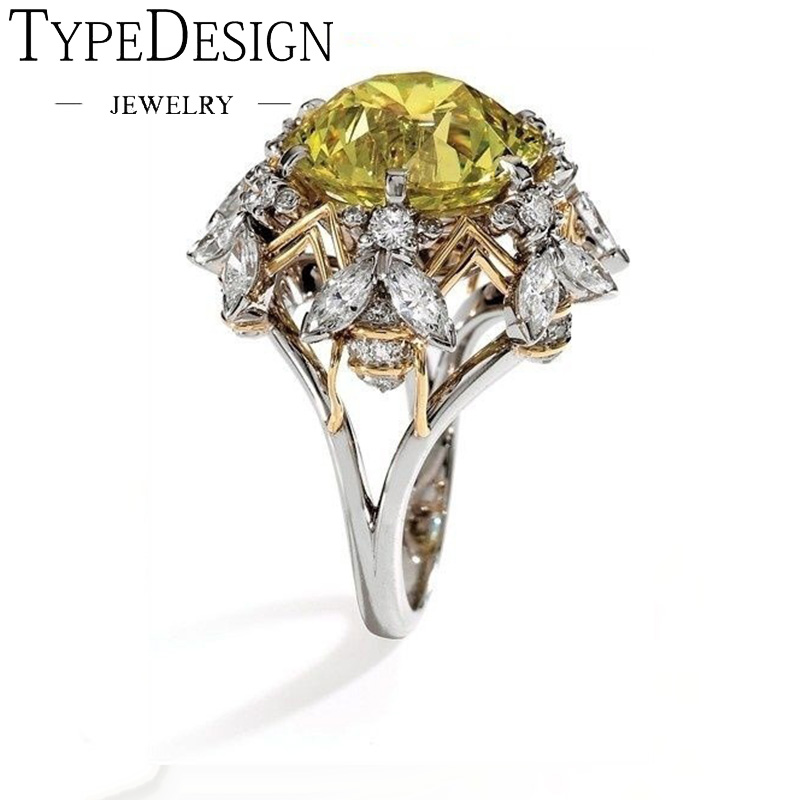Champagne Charm Chic Flower Engagement Rings For Women Ladies Elegant Unique Yellow Zircon Wedding Rings Fashion Party Jewelry