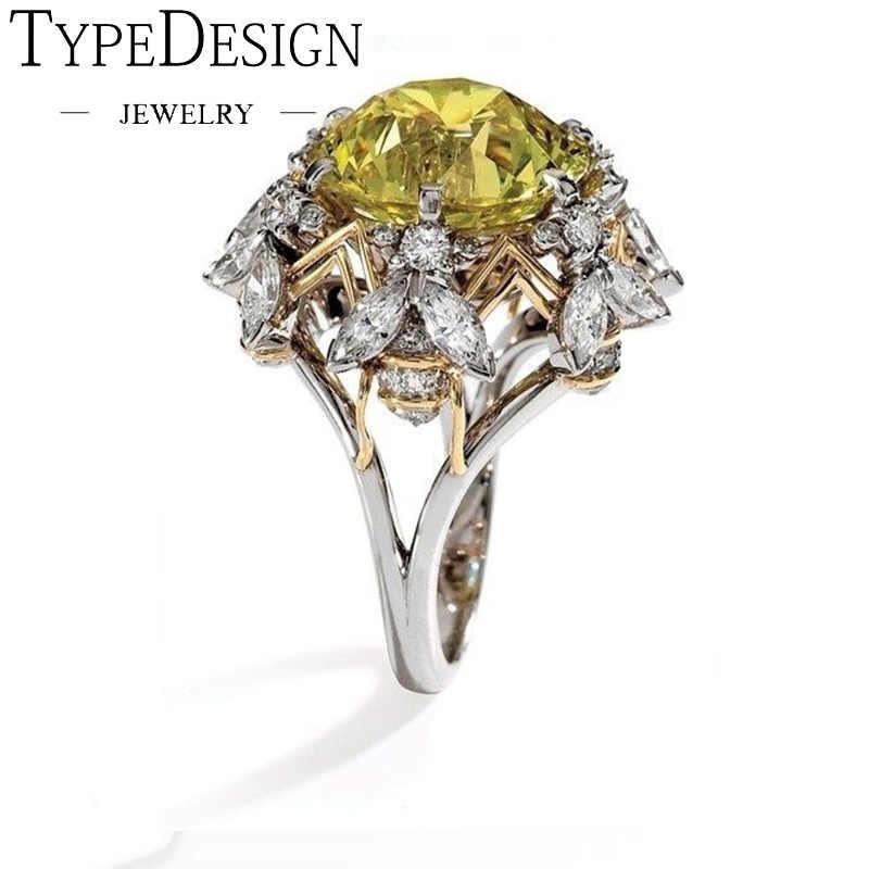 แชมเปญ Charm Chic ดอกไม้แหวนหมั้นสำหรับสุภาพสตรี Elegant สีเหลือง Zircon แหวนแฟชั่นเครื่องประดับ