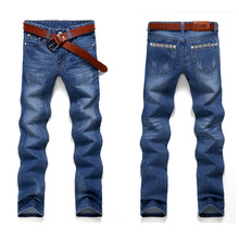2017 Fashion cholyl Straight Mens Biker Jeans Men homme Casual Blue Denim Design Mens Clothing China
