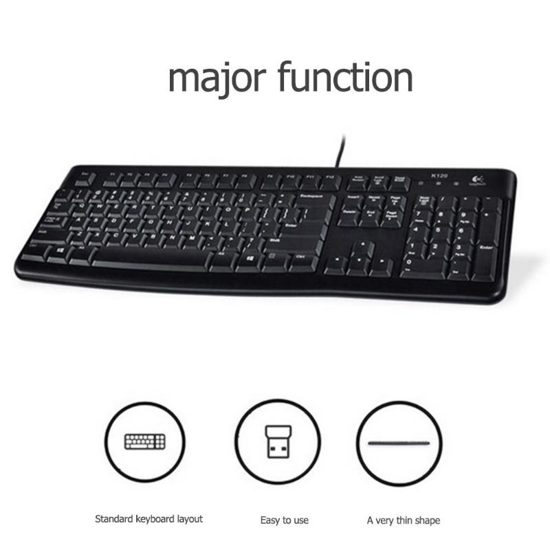 Logitech K120 USB Wired Keyboard Spill-Resistant 108 Keys Keyboard For PC