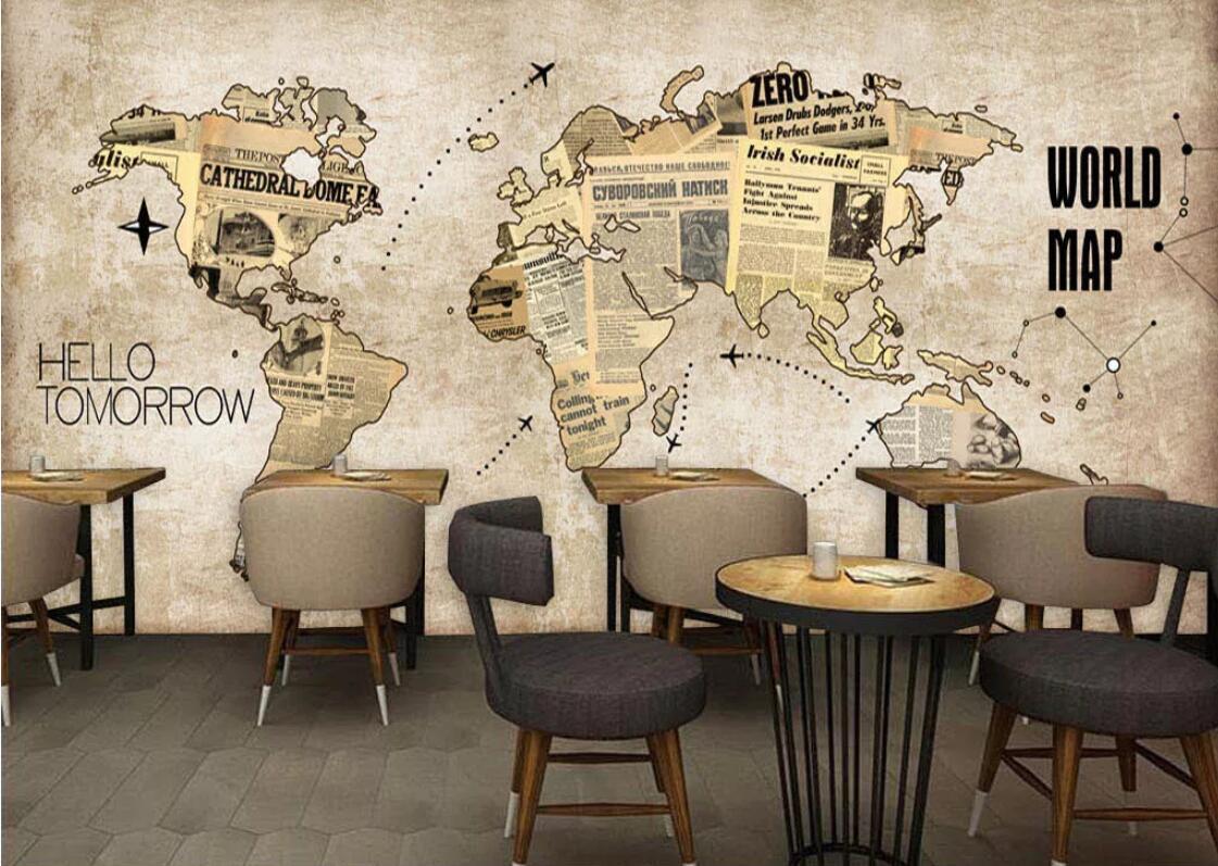 Nordic Vintage World Map Wallpaper Mural Wall Art 3D Wall Paper Roll For KTV Bar Restaurant Shop Wall Murals Contact Paper