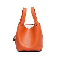 Genuine Leather Cowhide Women Handbag Lady Lock Female Handbag Bucket Bags Tote Composite Bags Inner Bag