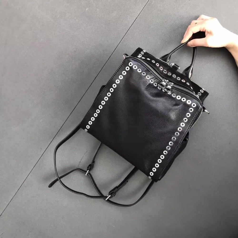 цена на Genuine leather backpack large capapcity rivet black shoulder bag women casual backpack fashion design for girl school bag solid