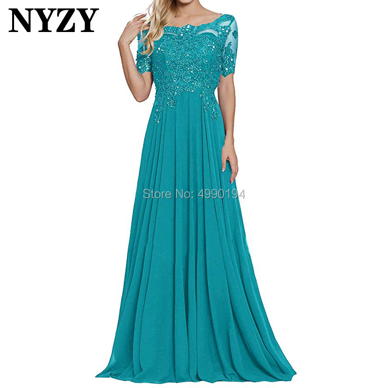 2019 Short Sleeves Turquoise Mother Of The Bride Dresses NYZY M213 Chiffon Lace Formal Dress Party Gown Vestido De Festa Longo