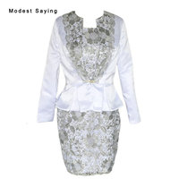 Real Elegant Sheath Long Sleeve Lace Mother of the Bride Dresses 2017 with Jacket Bolero New Mini Short Party Prom Gowns CZM8