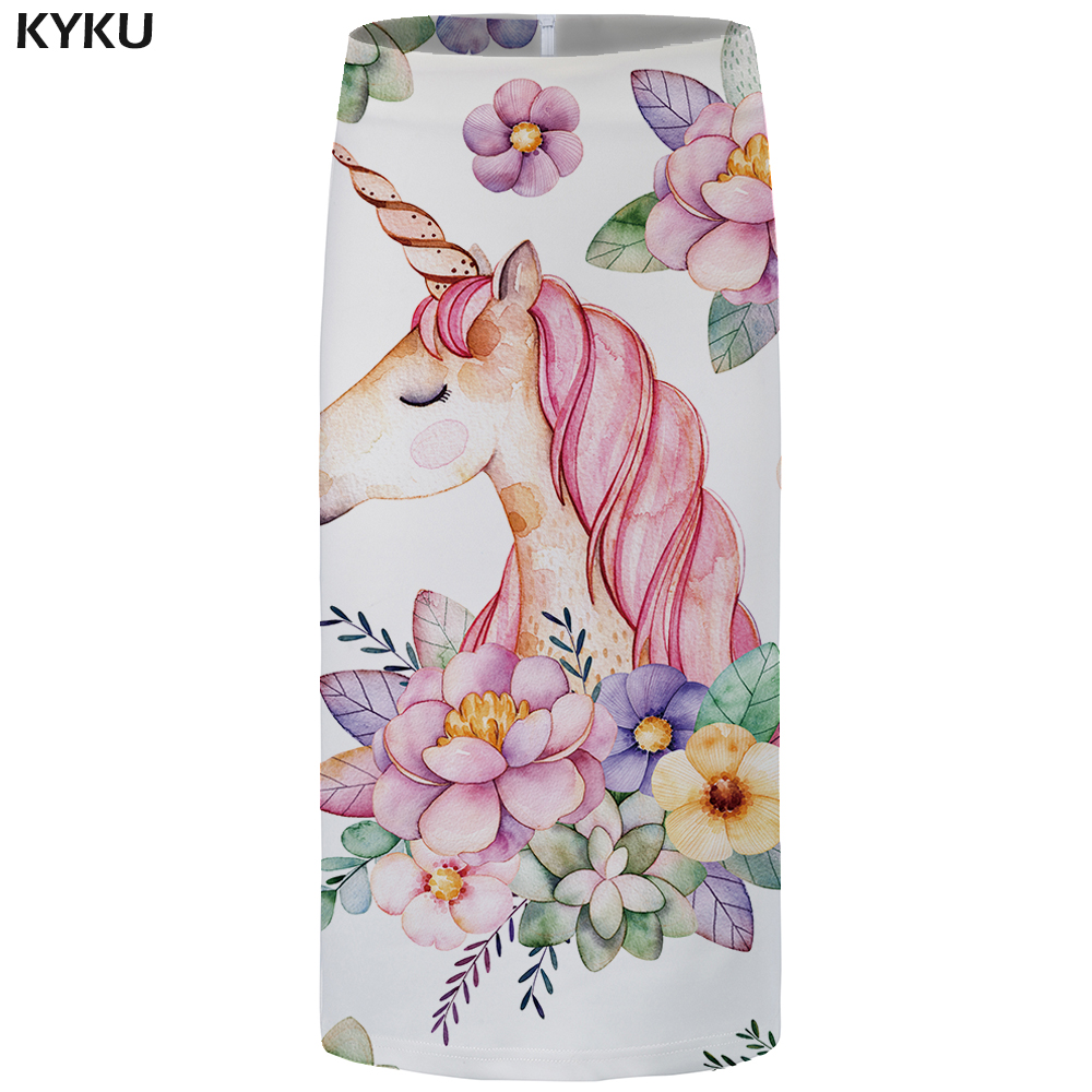Kyku Unicorn Women Skirts Horse Party Gothic Large Size Trend Sexy Colorful Summer Hip Ladies Skirts Vintage Knee Length New