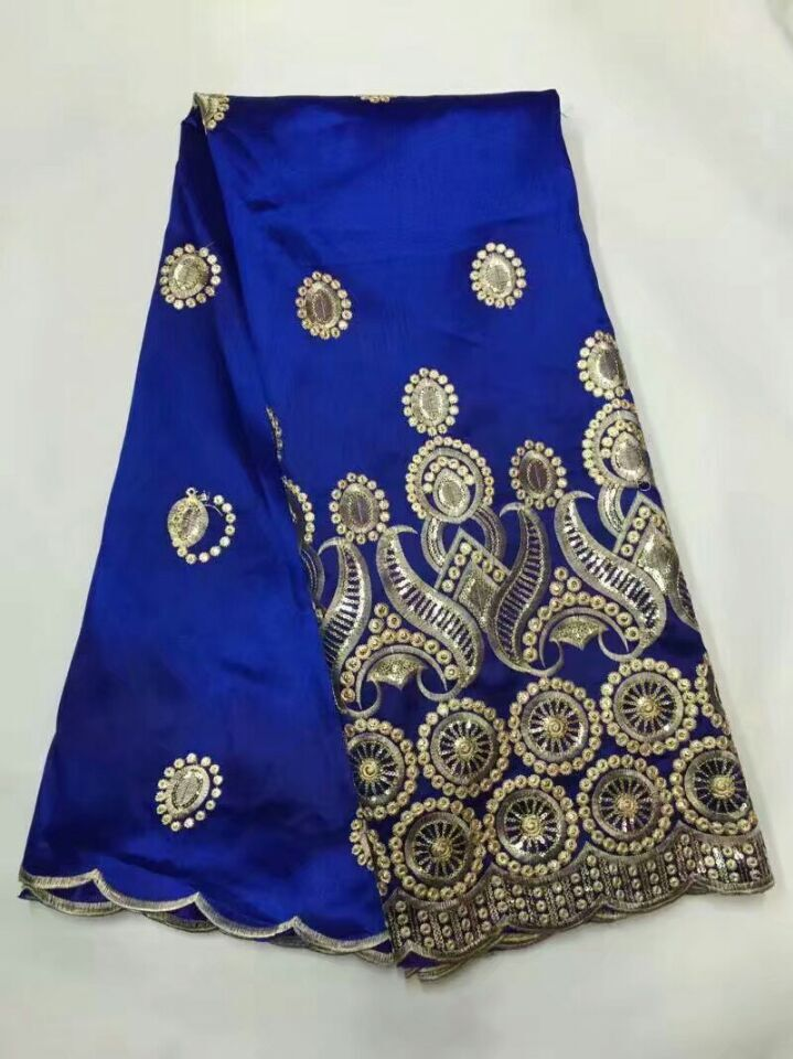 High quality African george with blouse cotton fabric sequins indian raw silk geroge for nigerian wedding
