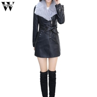 2017European And American Women S New Rabbit Fur Lapel Collar Fur Leather PU Leather In The