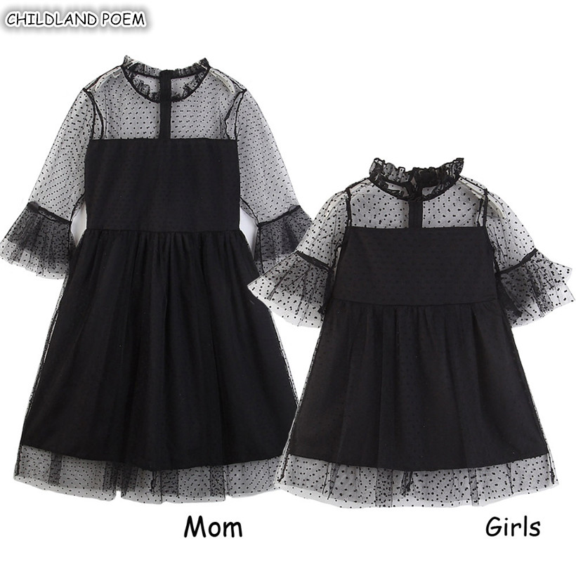 Mommy And Me Clothes 2019 Summer Family Matching Clothes Family Look Mother Daughter Dresses Ruffle Lace Mom Daughter Dress
