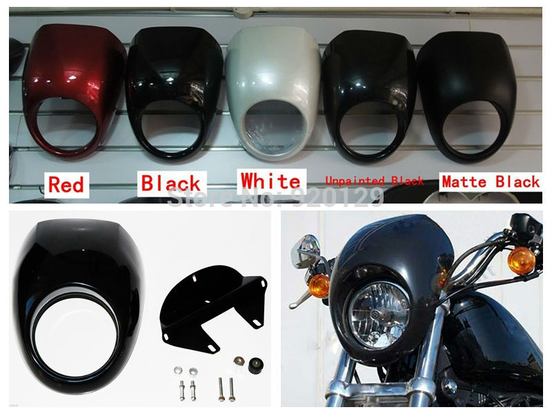 Motorcycle Front Cowl Fork Headlight Fairing Custom Mask for Harley Sportster Dyna FX/XL 883 for dyna sportster fx xl 39mm cafe racer grille style prison cowl headlight mask front fairing flyscreen fly screen visor