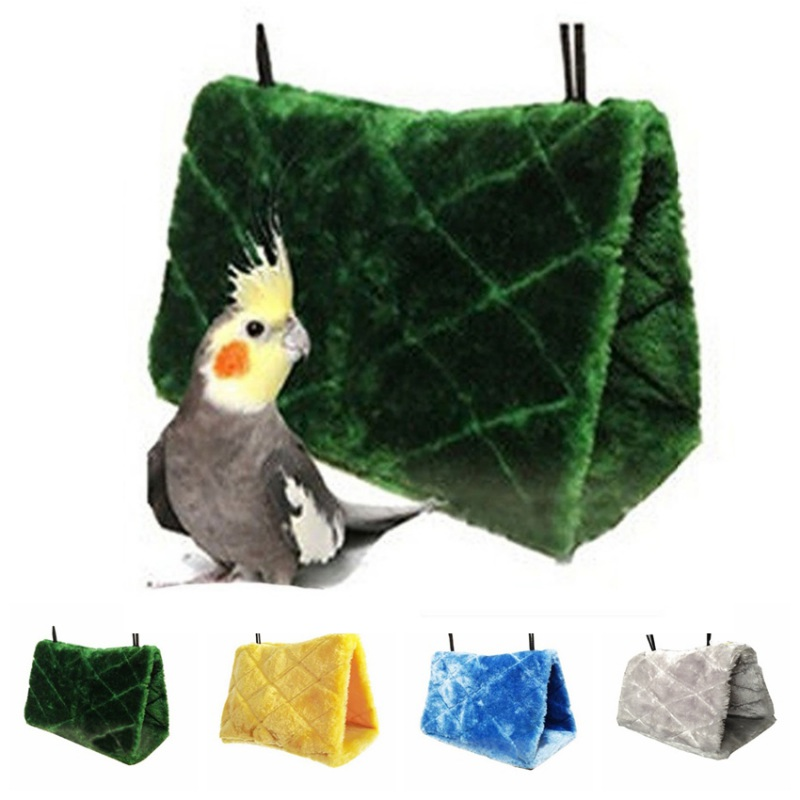 Happy Animal Hut Plush Cloth Hamster Fossa Bird Hanging Cave Cage Snuggle Tent Bed Bunk Toy Parrot Hammock Pet Toys