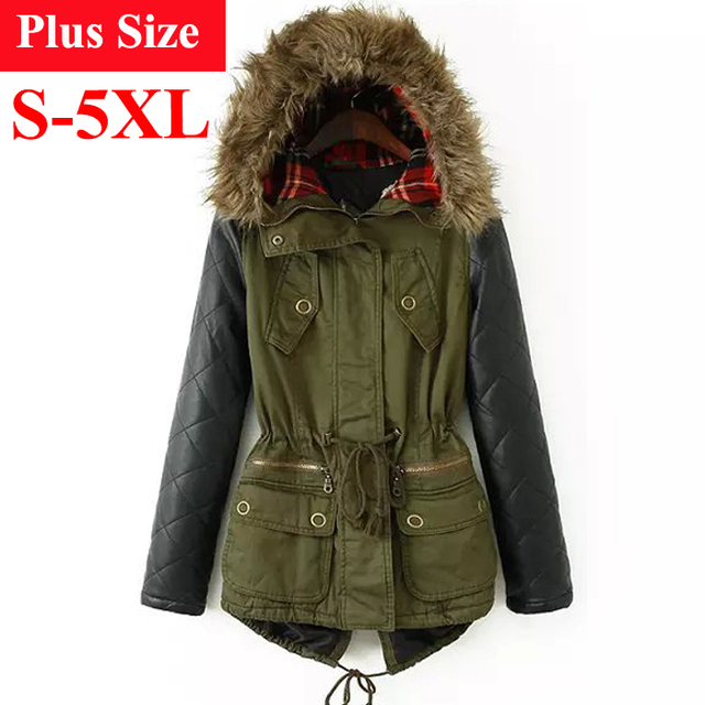 Winter Jacket Women 2017 Down Parka Plus Size Cotton Padded Coat Fur Hooded Outwear PU Leather Sleeve Winter Coat Women