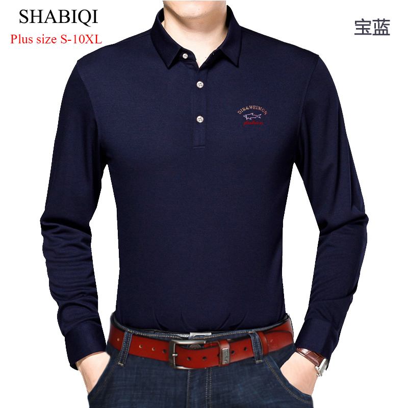 SHABIQI Casual Cotton Men Polo Shirt Thicker Mens Long Sleeve Solid Polo Shirts Camisa Polos Tops Plus Size 6XL 7XL 8XL 9XL 10XL