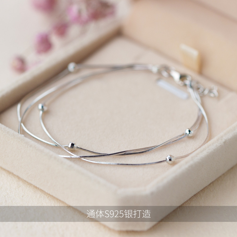 925 Sterling Silver Multi layers /3ROWS &Lucky ball Beads Snake Bone chain bracelet Fine Jewelry adjustable LS125925 Sterling Silver Multi layers /3ROWS &Lucky ball Beads Snake Bone chain bracelet Fine Jewelry adjustable LS125