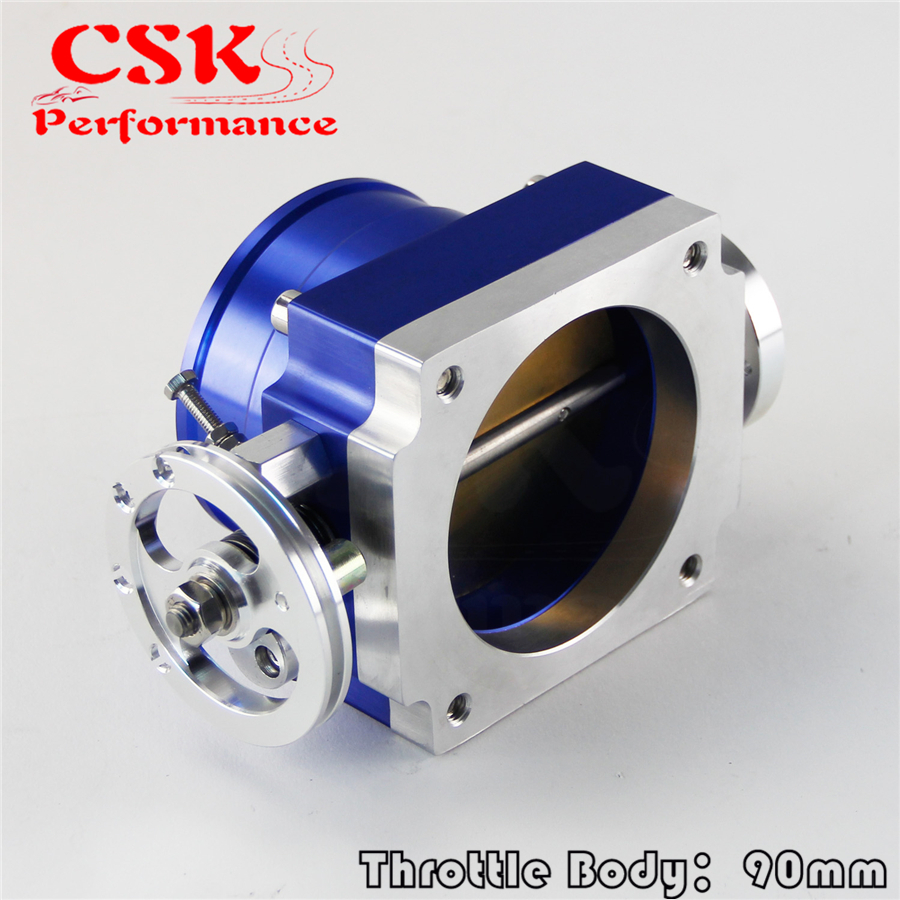 Universal 90MM VQ35TPS Throttle Body <font><b>Intake</b></font> <font><b>Manifold</b></font> <font><b>RB25DET</b></font> RB26DET GTS blue image