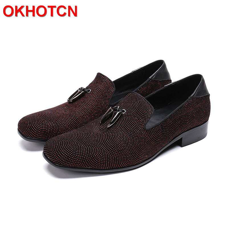 Red Rhinestone Korean Loafers Men Casual Business Dress Shoes Slip On Paprika Men Loafers Moccasins Crystal Real Leather Shoes osprey рюкзак ace 38 paprika red