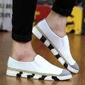 Corea Verano nuevo hombre pisos de punto casual ocio deportes zapatos de paja trenzada suede blanco negro zapatillas de lona perezosos