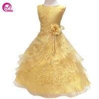 Kids Infant Girls Flower Petals Dress Children Bridesmaid Toddler Elegant Dress Pageant Wedding Bridal Tulle Formal