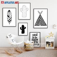 AFFLATUS Tent Cactus Feather Nordic Poster Wall Art Canvas Painting Black White Posters And Prints Pictures Kids Room Decor