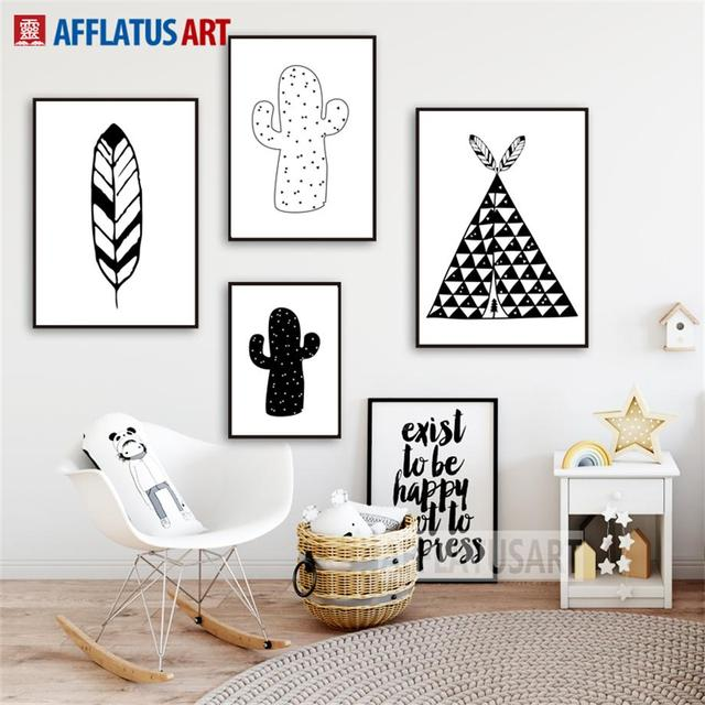 Tent Cactus Feather Nordic Poster Wall Art Canvas Painting Black White Posters Prints Pictures Room