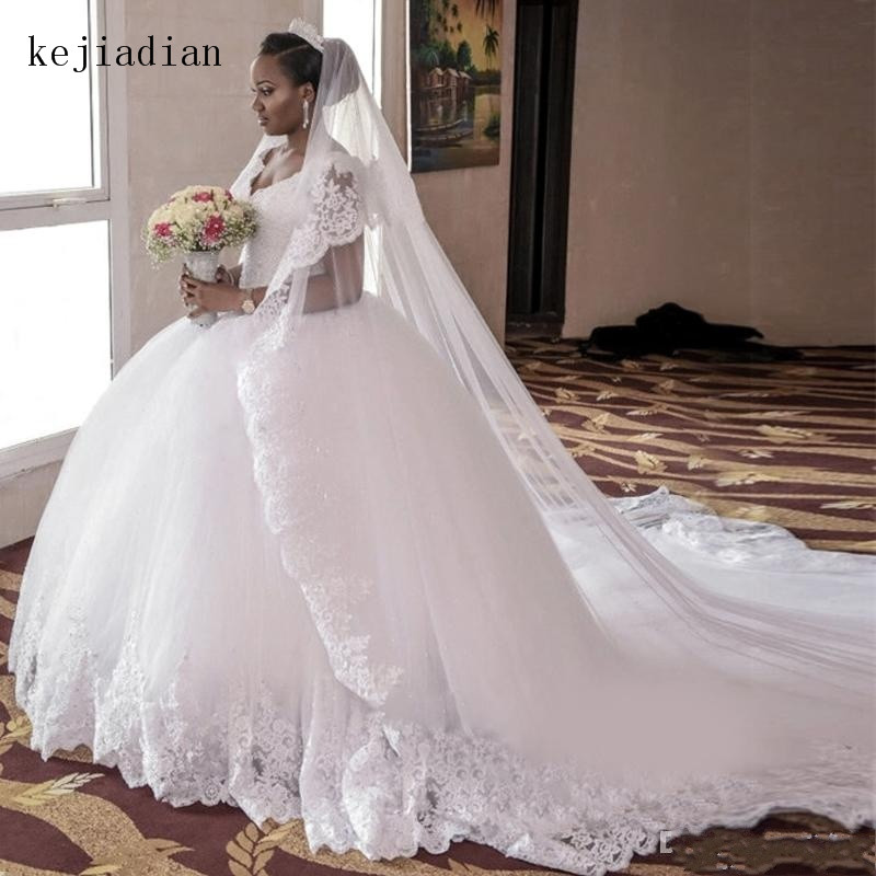 white Ball Gown Wedding Dresses cap sleeve 2019 beading Gorgeous Lace V Neck royal Train Plus