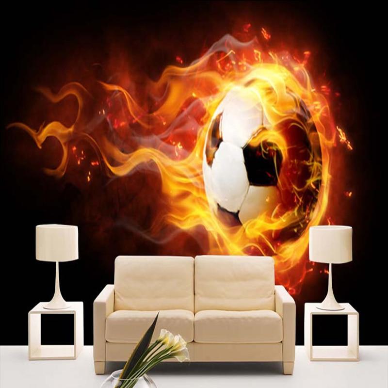 Us 8 76 53 Off Nach Modernen Fantasy 3d Tapete Wandbild Kinderzimmer Sofa Hintergrund Tapete Fussball Auf Feuer Wandbild Papel De Parede In Tapeten