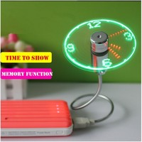 Wholesale Flexible Led Display Time Letter USB LED Flash Fan With Realtime Temperature Soft Blades Metal