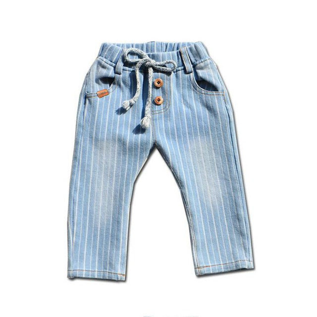 New 2016 spring autumn baby pants baby boys girls jeans Striped kids Regular Cansual pants 100% cotton Elastic baby trousers