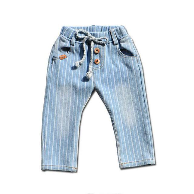 Nuevo 2016 del otoño del resorte pantalones del bebé muchachas de los bebés pantalones vaqueros Rayados niños Cansual Regular 100% de algodón Elástico pantalones del bebé