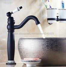 Oil Rubbed Bronze Basin Faucets Deck Mounted Bathroom Sink Faucet Single Handle Swivel Hot Cold Mixer Water Tap Knf506 стоимость