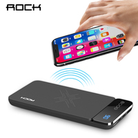ROCK 8000mah Power Bank QI Wireless Charger for iphone X 8 Samsung S9 S8 External Battery Powerbank with Digital Display