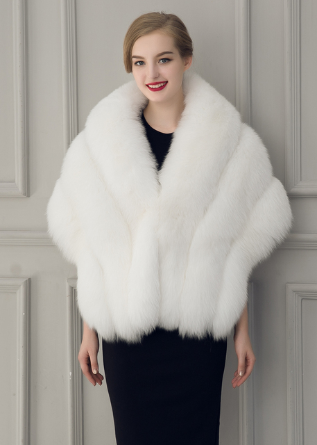 Faux Fur Coat Gilet Fur Vest Women  Fur Shawl Cape Batwing  Winter Poncho Warm Shawls Wraps