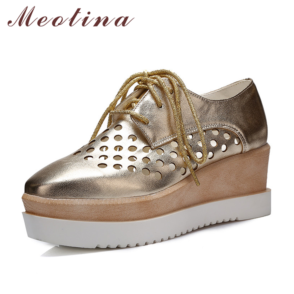 Meotina Women Pumps Autumn Square Toe Casual Platform Wedges Female Lace Up Cutout Gold Black White Pink Shoes Plus Size 9 10 europe america fashion star cutout lace up high heel shoes for women square toe platform wedges brogue oxford casual shoes us 10