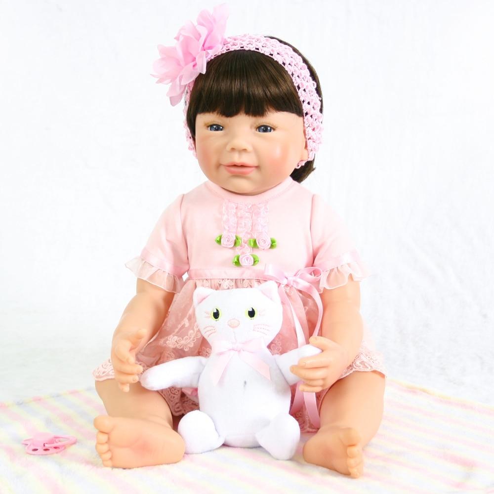NPK 56 cm avec poupée en peluche vraie Reborn bébé poupées bébés poupée corps en vinyle complet si mignon fille modèle poupée pour enfant en bas âge bebe jouet cadeaux
