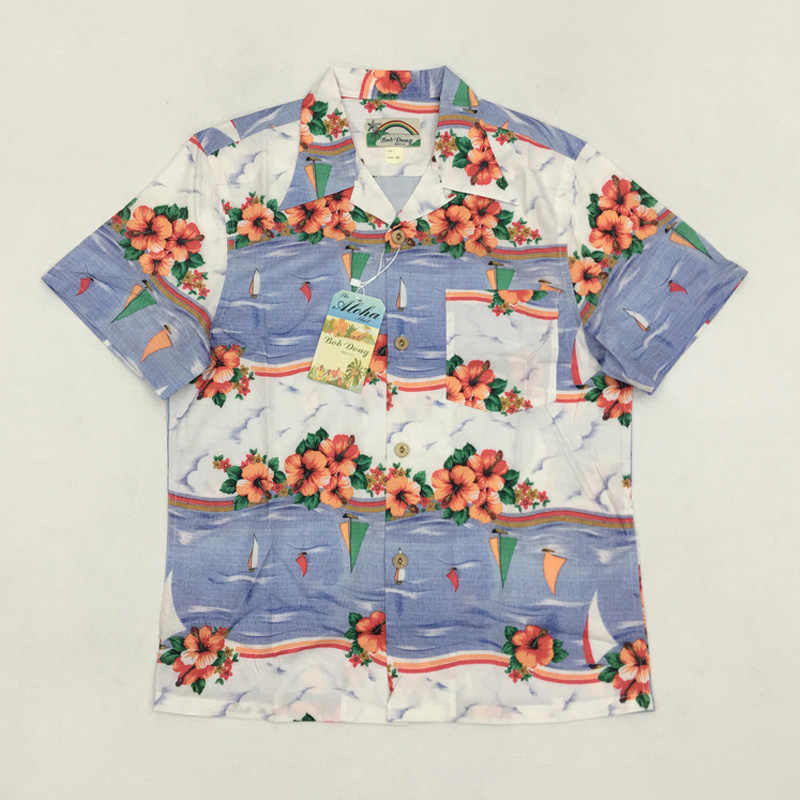 86e918f22285 Vintage Men's Hawaiian Shirt Summer Floral Print Short Hawaii Aloha Shirts  For Men Vacation Beach Clothing