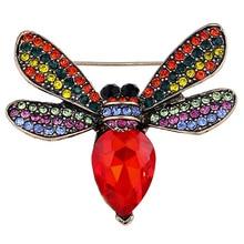 2017 Mais Novo Colorido Strass Pinos Broche Jóias para Mulheres Grandes Broches De Cristal Bonito da Abelha Cachecol Acessórios Vestido XZ184
