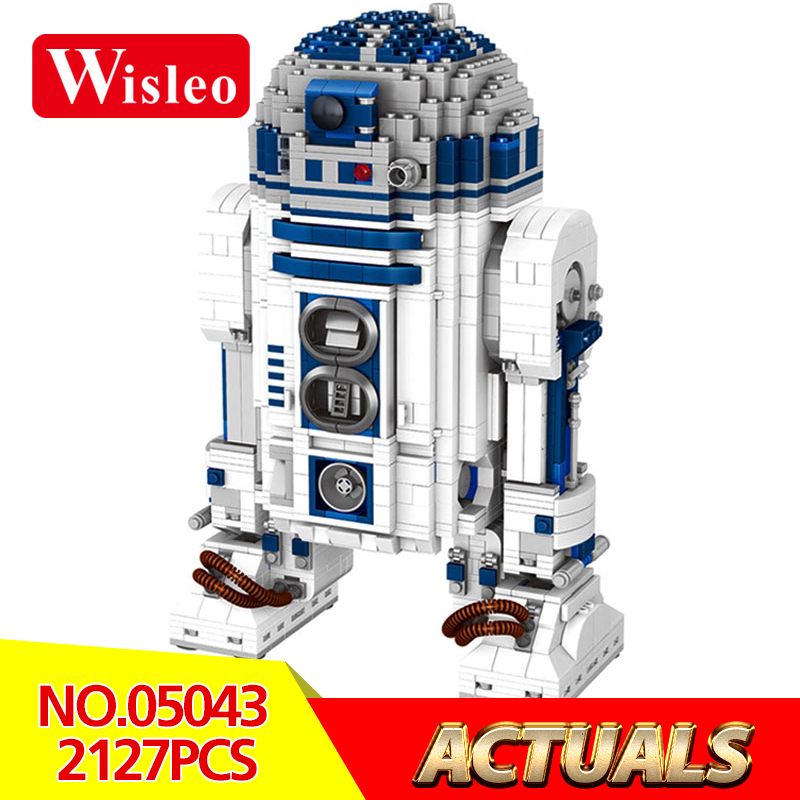 Wisleo 05043 Star Wars Series 2127Pcs The R2D2 Robot Set Out of print D2 Building Blocks Bricks Children Toys LegoINGlys 10225 2018 movie star wars r2 d2 r2d2 logo 03