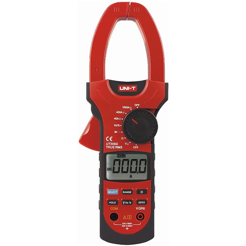 UNIT UT209A Auto Range Digital Clamp Multimeters 1000A 1000V True RMS Clamp Meter UNI-T Ammeter Voltmeter LCD Backlight  uni t ut209a true rms professional auto manual range 4000 counts 1000a digital clamp multimeters