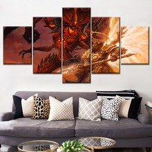 Game Painting Modern Wall Artwork Bedroom Home Decor Modular Picture 5 Piece Type Style Diablo 3 Devil Duel Poster Canvas Print