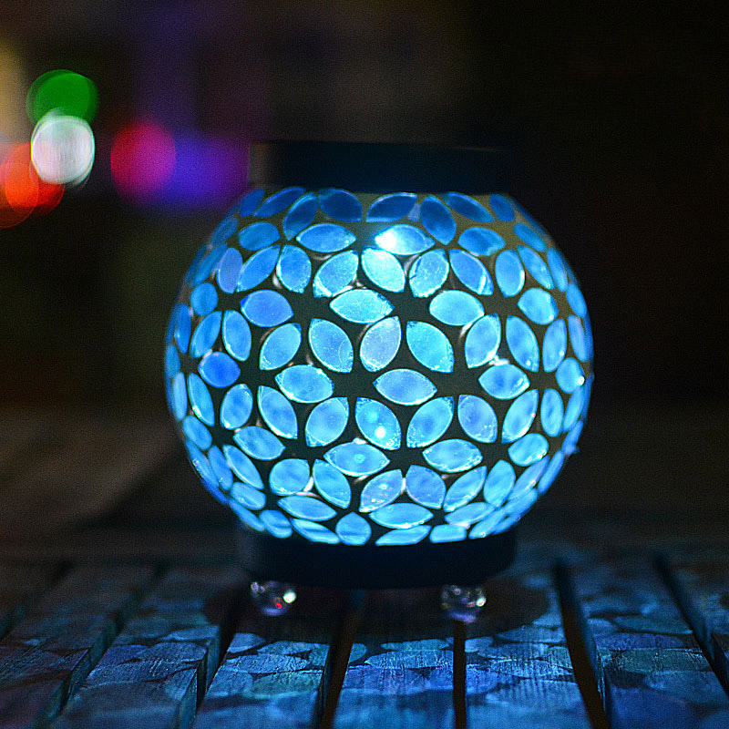 Flower Blue Mosaic Glass Ball Garden Lights White LED Solar Light Waterproof Solar Powered Table Lamps for Parties Decorations цена